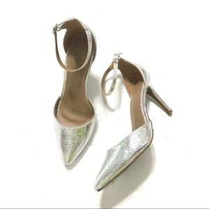 Bamboo Silver Pointed Toe Heels